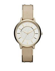 Armani Exchange Ladies Olivia Goldtone Watch With Gold Leather Strap Tan