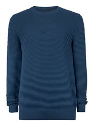 Topman Blue Teal Ripple Textured Sweater