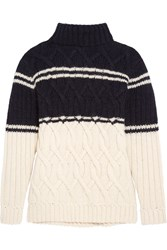 J.Crew Edna Cable Knit Turtleneck Sweater Navy