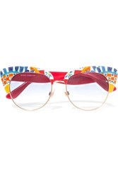 Dolce And Gabbana Printed Acetate Sunglasses Red
