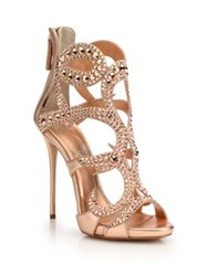 Giuseppe Zanotti Crystal Studded Suede Sandals Rose Gold