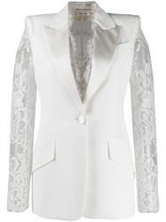 Alexander Mcqueen Lace Details Single Breasted Blazer 60
