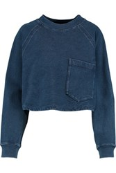 Ag Jeans Cropped Cotton Chambray Top Navy