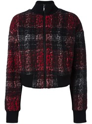 Dkny Rose Plaid Bomber Jacket Red