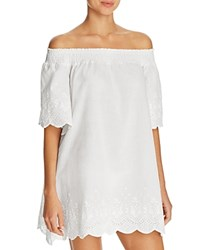 Minkpink Broderie Off The Shoulder Dress Swim Cover Up Cream
