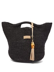 Heidi Klein Grace Bay Mini Raffia Bucket Bag Black