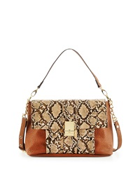 French Connection Izzy Snake Embossed Flap Top Messenger Bag Tan Nude