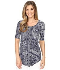 Mod O Doc Patchwork Tiles Printed Rayon Spandex Jersey Scoop Neck 3 4 Sleeve Top Inkwell Women's Blouse Gray