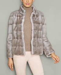 The Fur Vault Mink Stand Collar Jacket Ice