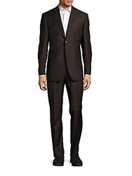 Saks Fifth Avenue Classic Fit Solid Two Button Suit Brown