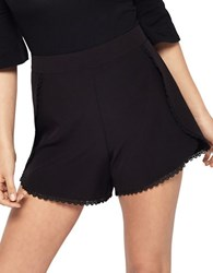 Miss Selfridge Lace Trimmed Shorts Black