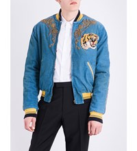 Gucci Dragon Embroidered Corduroy Cotton Blend Bomber Jacket Blue