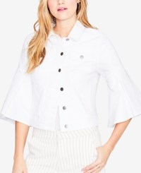 Rachel Roy Ruffled Cuff Denim Jacket Created For Macy's White