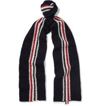 Thom Browne Striped Intarsia Wool And Mohair Blend Scarf Midnight Blue