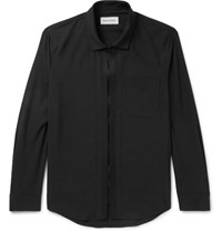 Solid Homme Grosgrain Trimmed Poplin Zip Up Shirt Black