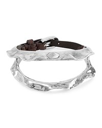 Uno De 50 Spike Leather Bracelet Silver