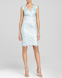 Tadashi Shoji Dress Sleeveless V Neck Sequin Lace Banded Waist