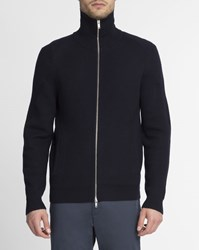 Theory Navy Ronzons High Collar Textured Wool Zipped Cardigan Blue