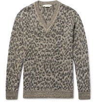 Marc Jacobs Lenny Leopard Jacquard Knit Linen Wool And Cashmere Blend Sweater Leopard Print