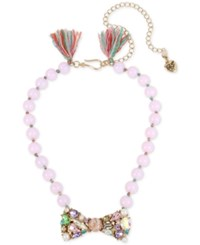 Betsey Johnson Gold Tone Pink Imitation Pearl Crystal Bow Tie Collar Necklace Multi