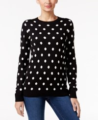 Charter Club Polka Dot Sweater Only At Macy's Deep Black Combo