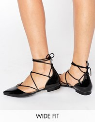 Asos Literal Wide Fit Lace Up Ballet Flats Black Patent