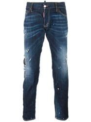 Dsquared2 Clement Distressed Whiskered Jeans Blue
