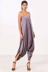 Silence And Noise Oversized Satin Jumpsuit Purple