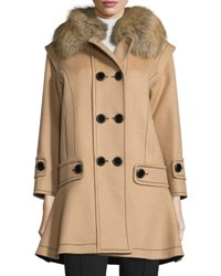 Andrew Gn Mid Length Wool Blend Coat W Fox Fur Collar Camel Tan Camel