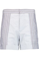 See By Chloe Paneled Striped Cotton Shorts Blue