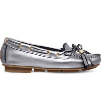 Carvela Line Metallic Leather Moccasins Gunmetal
