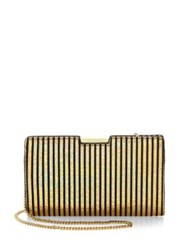 Milly Small Frame Leather Clutch Silver Gold