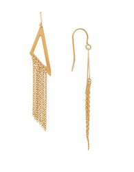 Lord And Taylor 14K Gold Triangle Chainlink Linear Drop Earrings Yellow Gold