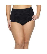 Becca Plus Size Black Beauties High Waist Bottoms Black Women's Swimwear