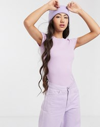 Monki Ribbed T Shirt In Lilac Purple