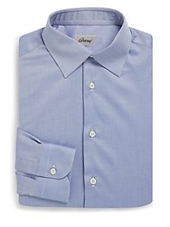 Brioni Textured Cotton Dress Shirt Blue