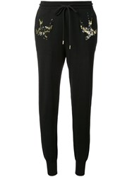 Markus Lupfer Sequinned Bird Knit Trousers Black