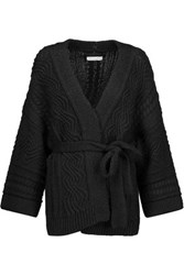 Etoile Isabel Marant Floyd Cable Knit Stretch Cotton Alpaca And Linen Blend Cardigan Black