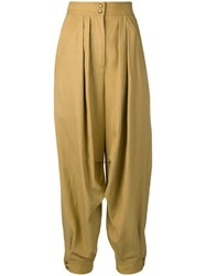 Alberta Ferretti Drop Crotch Trousers Neutrals