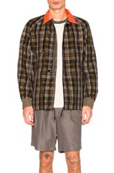 Kolor Contrast Collar Jacket In Checkered And Plaid Brown Checkered And Plaid Brown