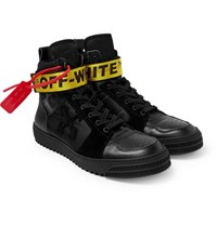Off White Industrial Full Grain Leather Suede And Ripstop High Top Sneakers Black