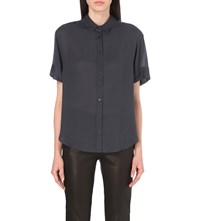 The Kooples Semi Sheer Twill Shirt Anthracite