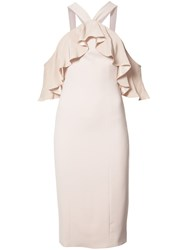 Jay Godfrey Fitted Ruffle Trim Dress Nude Neutrals