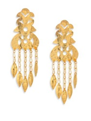 Josie Natori Hammered Drop Earrings Gold