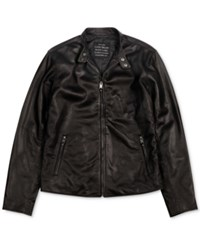Lucky Brand Cafe Racer Leather Jacket Black