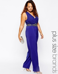 Little Mistress Plus Little Mistress Embellished Waist Strap Jumpsuit Cobaltblue