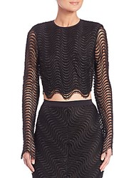 Bec And Bridge Mon Amour Long Sleeve Mesh Cropped Top Black