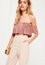 Missguided Nude Slinky Bandeau Frill Bralet