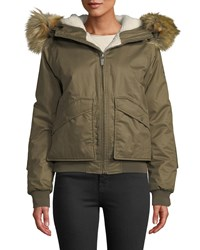 Hunter Waterproof Insulated And Faux Fur Hooded Bomber Jacket Croft