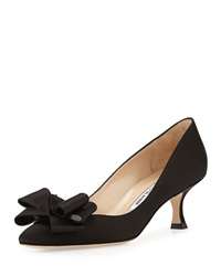 Manolo Blahnik Lisane Satin Bow Kitten Heel Pump Black